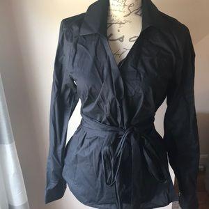 W by worth black wrap blouse. Size 10
